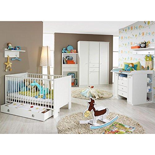 Komplett Babyzimmer Babymöbel Wickelkommode Babybett weiß Kleiderschrank Regal