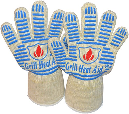 Heat Resistant Gloves - Light-Weight, Flexible BBQ Gloves - 100% Cotton Lining for Super Comfort. Blue, Extra Small Size