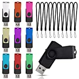 USB Flash Drive 1GB Pack of 10 in Bulk Thumb Drives, Swivel Jump Drive Multicoloured 1 GB USB 2.0 Memory Sticks with Cord, Portable Pendrive Keychain Multipack Zip Drive for Promotional Gift by Datarm