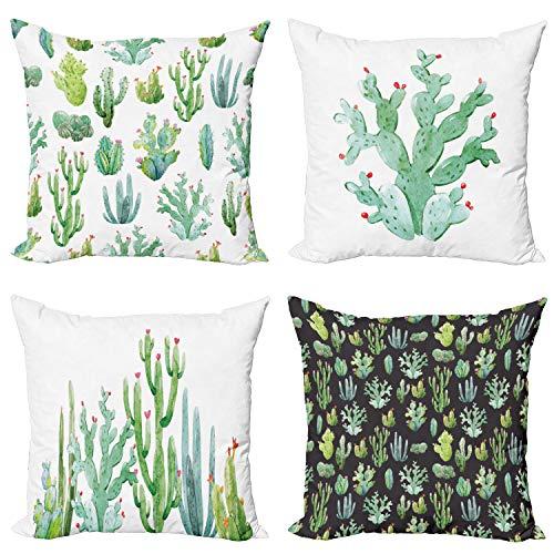 ABAKUHAUS sappig Sloop voor Sierkussen, Modern Botanische Cactus, set van 4 Modern Accent Tweezijdig Bedrukt, 40 cm x 40 cm, Groene Seafoam en White