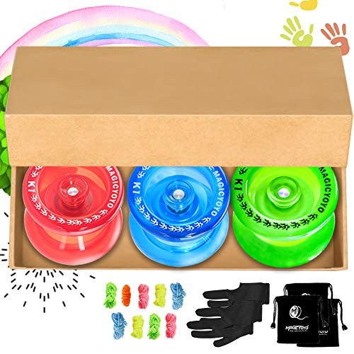 MAGICYOYO Pack of 3 Responsive YoYo, K1 Plus Crystal Blue,Crystal Red,Grow Green,Hubstack Plastic Yoyos for Kids Basic Yo-yo with 9 Yoyo String,3 Yoyo Bags,3 Yoyo Gloves Ideal Christmas Birthday Gift.