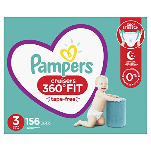 Diapers Size 3, 156 Count - Pampers Pull On Cruisers 360° Fit Disposable Baby Diapers with Stretchy Waistband, ONE MONTH SUPPLY (Packaging May Vary)