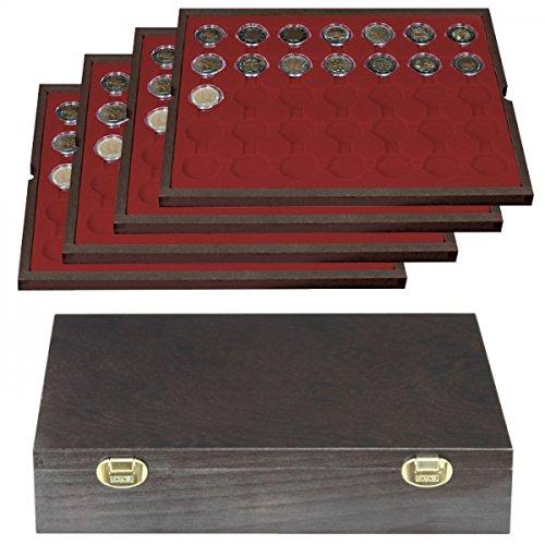 Lindner 2494-11 Echtholzkassette CARUS (für Münzkapseln mit 32 mm Außen-Ø, z.B. für 2 €)