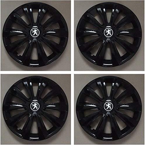Unit.ec 4X Peugeot Radkappen 15 Zoll in schwarz Inkl Embleme