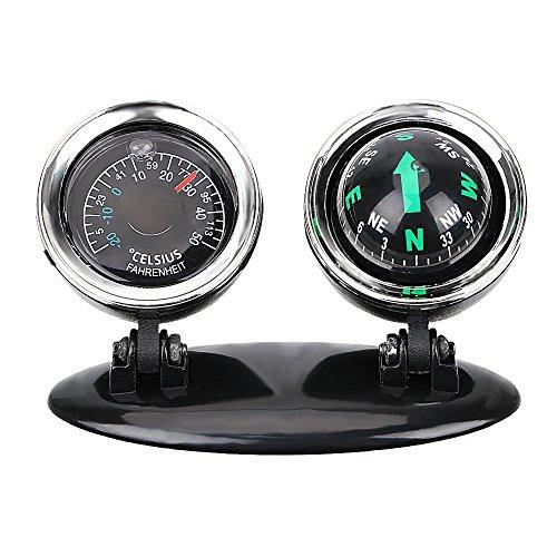 iTimo 2-in-1-Kompass-Thermometer, Auto-Ornamente, Führungskugel-Richtung, Armaturenbrett-Ball, Auto-Innenzubehör, Auto-Dekoration