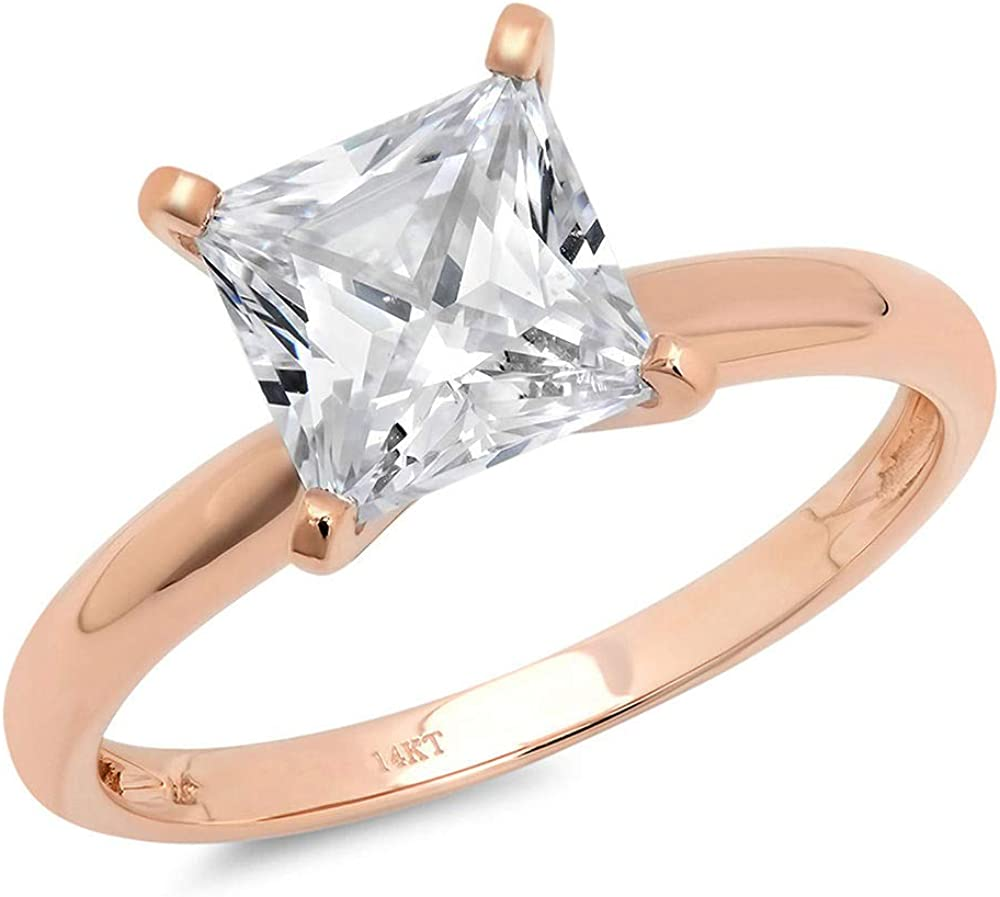 3.0 ct Brilliant Princess Cut Solitaire Genuine Moissanite Flawless Ideal VVS1 D 4-Prong Engagement Wedding Bridal Promise Anniversary Ring in Solid 14k Rose Gold for Women