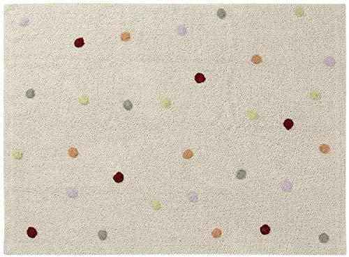 Happy Decor Kids -Alfombra Lavable Multi Dots 100% Algodón Natural -Beige- 160x120 cm