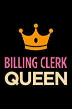 billing clerk queen: Blank lined novelty office humor themed notebook to write in: With a versatile wide rule interior: Pink and orange cover