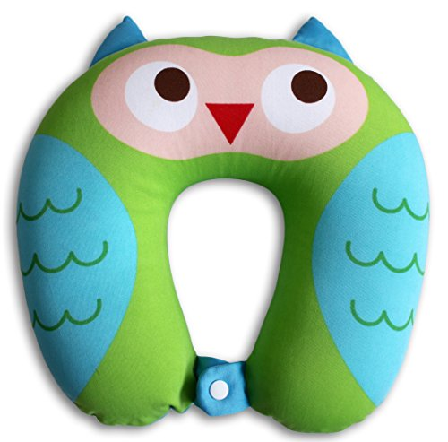 NIDO NEST Travel Pillows for Kids - Cute U-Shaped Animal Neck Pillow for Car, Planes, Boys, Girls, Children Gifts - Owl