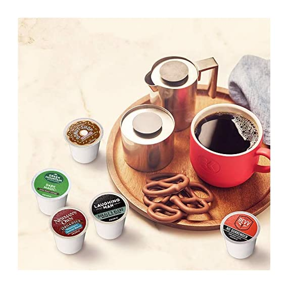 Keurig k-cup pod variety pack, single-serve coffee k-cup pods, amazon exclusive, 72 count 4 includes: 3 k-cup pods from 20 popular varieties, including green mountain coffee breakfast blend, the original donut shop regular, newman's own organic special blend, caribou coffee caribou blend, tully's coffee italian roast, and many more variety: sample different coffees and discover your favorites from a wide variety of roasts, flavors, and brands compatibility: contains authentic keurig k-cup pods, engineered for guaranteed quality and compatibility with all keurig k-cup coffee makers