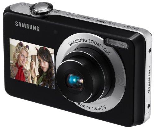 Samsung PL100 Digitalkamera (12.2 Megapixel, 3-Fach optischer Zoom, Duales Display (6,85 cm Hauptdisplay/ 3,81 cm Frontdisplay), Duale Bildstabilisierung) schwarz