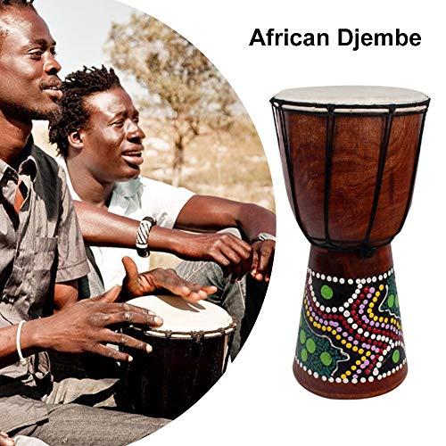 Honeytecs 6in Djembe Africano Tambor de Madeira Maciça Esculpida à Mão Instrumento Musical Tradicional Africano