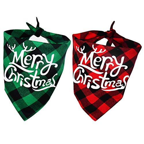 Malier 2 Pack Dog Bandana Christmas Classic Buffalo Plaid Pets Scarf Triangle Bibs Kerchief Set Pet Costume Accessories Decoration for Small Medium Large Dogs Cats Pets (red and Green)