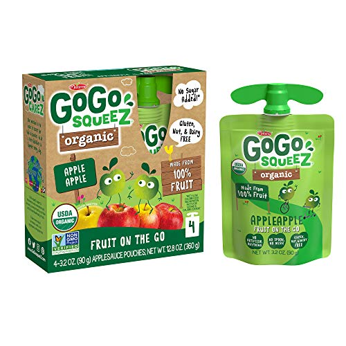 GoGo squeeZ Organic Applesauce, Apple Apple, 3.2 Ounce (48 Pouches), Gluten Free, Vegan Friendly, Unsweetened Applesauce, Recloseable, BPA Free Pouches