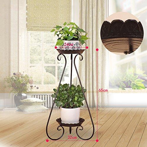 balcon voyantes Grilles de fleur de fer à plusieurs étages grilles vert radis araignée balcon étagère à fleurs viande salon intérieur étage étagère à fleurs Plantes d'extérieur Présentoir ( Couleur : Marron , taille : 32*65cm )