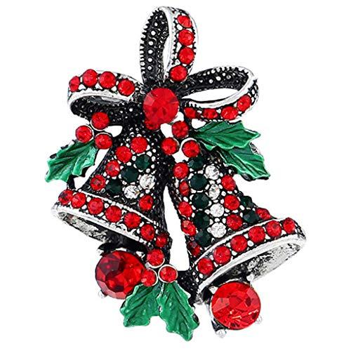 Garispace - Broche de Navidad con diseño de Campana de Navidad, Plateado, 1.10 * 1.50inch