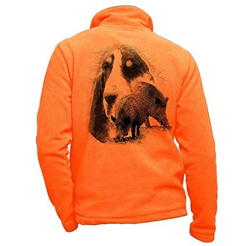 Pets-easy Polaire de Chasse Orange personnalisé avec Un Sanglier, Chien Grand Gascon Saintongeois - Affaire de Chasse Taille XL
