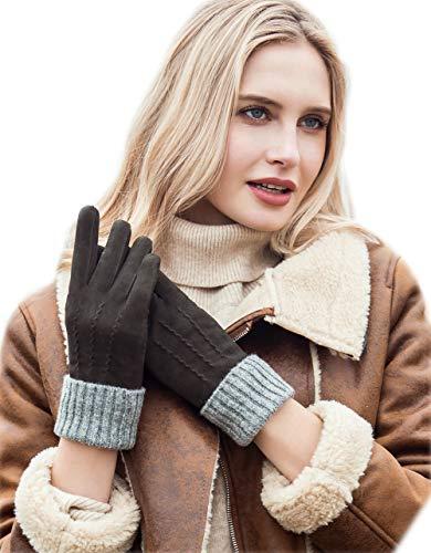 YISEVEN Damen Winter Handschuhe aus Echtem Schaffell Leder Handschuhe mit Warm Gefüttert Geschenk,Grün XXXL/9.0