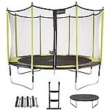Kangui - Trampoline de Jardin 365 cm + Filet de sécurité + échelle + bâche de Protection + kit d'ancrage JUMPI Vert/Noir 360
