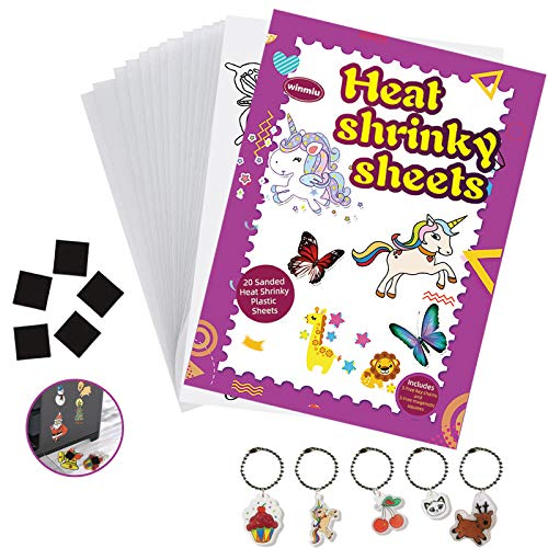 WINMIU Shrinky Dink Sheets Clear for Kids - DIY Shrinky Dink Paper Art Kits for Boys and Girls Include 20 Pcs Heat Plastic Shrink Film Sheets Blank, Traceable Pictures, Keychains and Bonus