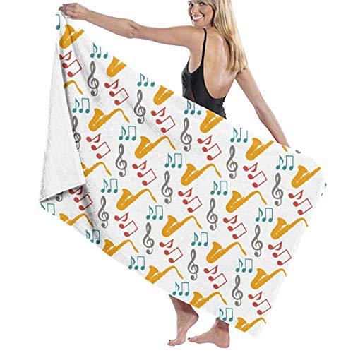 Surce Super zachte strandhanddoeken, muzieknoten, saxofon, 100% microvezel, polyester, reisdoek, sneldrogend, badhanddoek voor kinderen, vrouwen en mannen, 31 x 51 inch