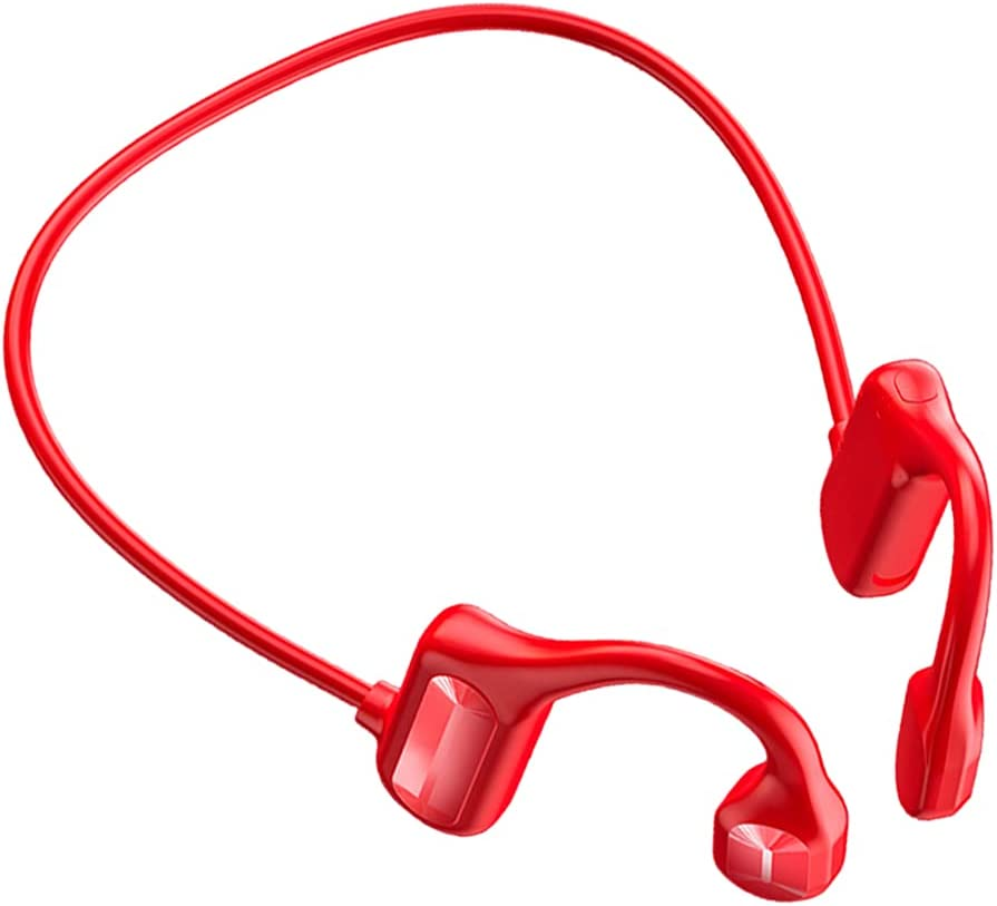 Homyl Bluetooth 5.0 Bone Conduction Headphones Wireless Earphones for Workouts Sport Hiking Driving Answering Phone Call with Sport Belt - Red