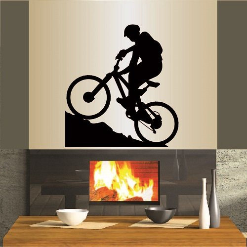 In-Style Decals Wall Vinyl Decal Home Decor Art Sticker Mountain Biking Extreme Sports Bicycle Bike Man Boy Room Removable Stylish Mural Unique Design for Any Room 337