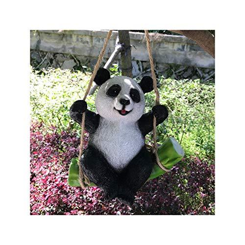 Goods247 Niedliche schwarze und weiße Panda-Schaukel auf Bambus kreative Statue als Gartendekoration