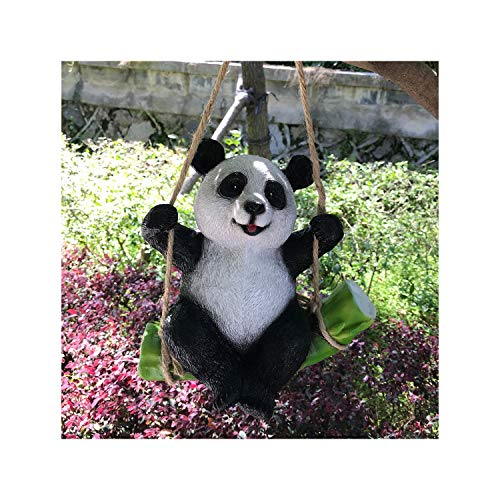 Goods247 Süße schwarze und weiße Panda Schaukel auf Bambus Kreative Statue als Gartendeko