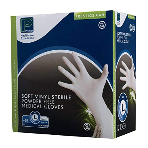 Premier Sterile Poeder Gratis Vinyl Handschoenen, (Pack van 50)