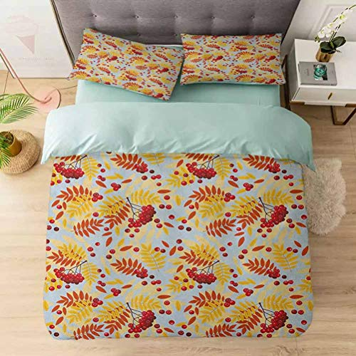 100% Washed Microfiber 3pcs Bedding Set, Ripe Rowan Bunch of Berries with Falling Dried Leaves Fall Nature Theme, Soft and Breathable with Zipper Closure & Corner Ties, Red Yellow Baby Blue