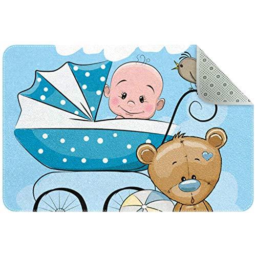 Felpudo con oso de bebé, color azul, gris y blanco, absorbe el lodo, sin olor, duradero, antideslizante, de perfil bajo, para puerta de entrada, gran algodón, rascador de zapatos