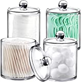 4 Pack of 15 Oz. Plastic Acrylic Bathroom Vanity Countertop Canister Jars with Storage Lid, Apothecary Jars Qtip Holder Makeup Organizer for Cotton Balls,Swabs,Pads,Bath salts (Clear, 15 Oz)