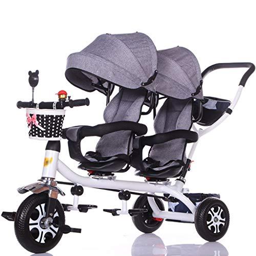 Jixi Carro de bebé Triciclo Doble for niños Carro de Bicicleta Doble for bebé Carrito Grande Cochecito extendido Cesta de Almacenamiento de toldo (Color : D)