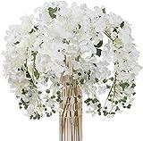 Kesio - 4 fiori artificiali di ortensia in seta, lunghi steli per vasi alti da matrimonio, ghirlande da appendere, per casa, ufficio, decorazione per feste (bianco)