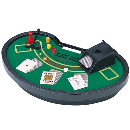 Mini Blackjack Table with Cards, Chips, Sweeper & Dealer Shoe
