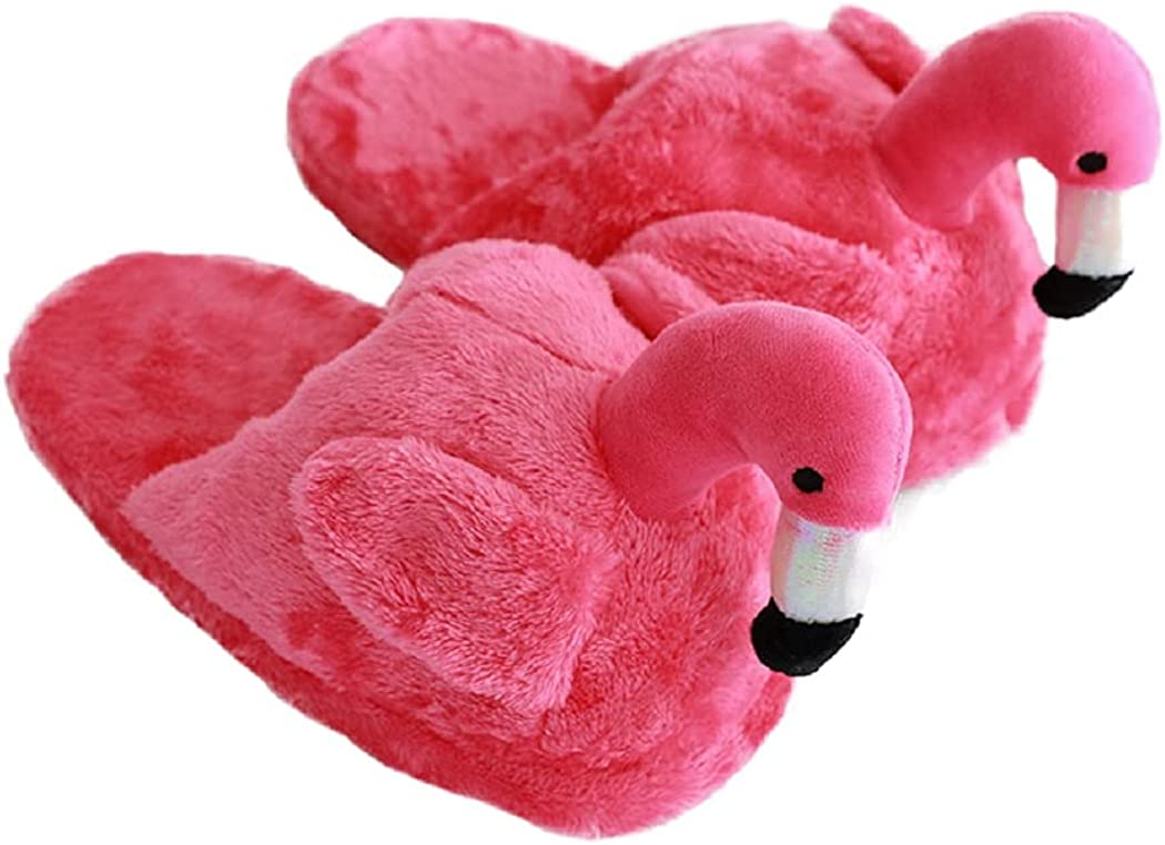 HANDKEI Women's cute fluffy flamingo slippers plush animal slippers warm home slippers soft and comfortable indoor slippers