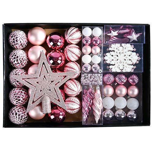 YILEEY Adornos de Navidad Decoracion Arboles de Navidad Bolas de Plastico, Rosado, 68 Piezas en 15 Tipos, Caja de Bolas de Navidad de Plástico Inastillable con Percha, Adornos Decorativos