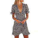 Beikoard Vestito Donna Elegante Abbigliamento Vestito Donna Gonna Donna arricciata a Maniche Corte con Scollo a V Manica Lunga Stampata Floreale da Donna (Nero, M)