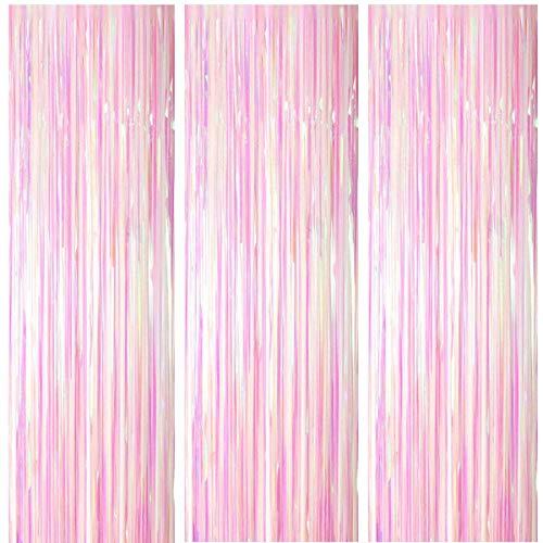 ONUPGO 3 Stück Farbe Folienvorhänge Fransen, 1 m x 3 m, glänzendes Metallic-Lametta-Vorhang für Neujahr, Fotokabine, Türvorhang, perfekt für Geburtstag, Hochzeit, Weihnachten, Party-Dekorationen
