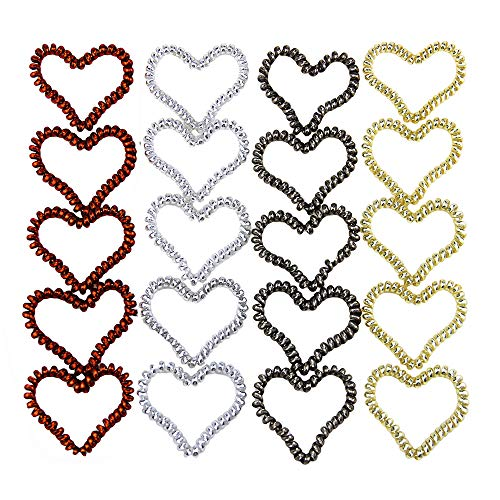 Haierly 20Pcs Spiral Hair Ties Cayder No Crease Elastic Ponytail Holders Hair Ring Phone Cord Traceless rubber bands for hair (4color 20pcs Heart)