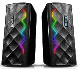 Altoparlanti per PC da gioco,2.0 altoparlanti per computer con 6 luci RGB colorate,USB da 3,5 mm Aux e Bluetooth 5.0, altoparlante audio stereo con bassi migliorati per computer desktop,laptop
