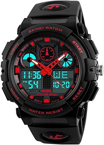 メンズデジタルアナログスポーツ軍用時計防水屋外LEDバックライトディスプレイアラームストップウォッチ
