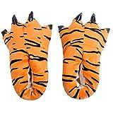 Paw Funny Animal Slippers Winter Warm Soft indoor floor Slippers Women Men Children Shoes Christmas Dinosaur Claw Plush Shoe AdultUS4.5-7.5 orange