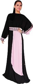 Arabeska Abaya For Women - L, Black And Pink, Arb-82