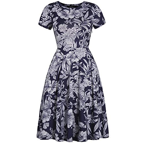YISHIWEI Womens Pocket Vintage Patchwork Flowers Casual Party Flared Dress