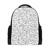 Zaino scolastico bianco e nero Manoscritto College borse a spalla scuola libro borse lapto...