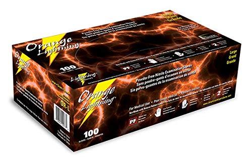 KBS Coatings OR-L Orange Large Lightning Nitrile Gloves, (Pack of 100)
