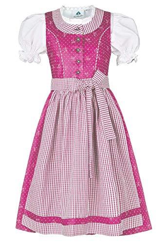 Isar-Trachten Mädchen Kinderdirndl mit Bluse pink, PINK (pink), 116
