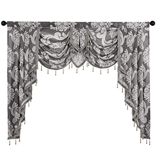 NAPEARL Jabot Curtains Valances and Swags-European Style Kitchen Window Valance, Luxury Jacquard Waterfall Valance Curtains for Living Room ( 1 Grey Valance, 61-Inch Wide )
